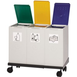Recolector de plástico color Gris 3 modulos 40 L sin tapa 41 cm x 76 cm x 57 cm