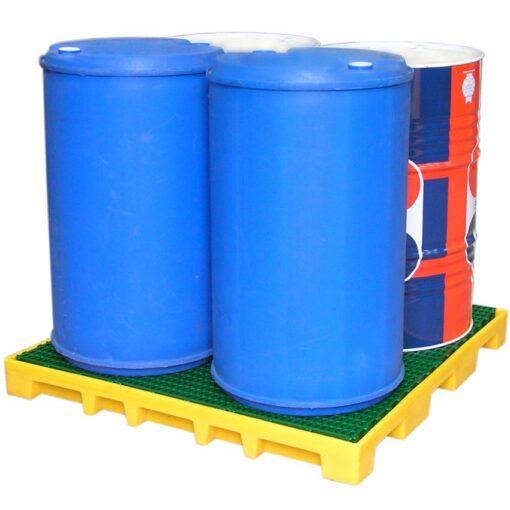 Plataforma de retención de polietileno 4 bidones, 120 litros 124,5 cm x 124,5 cm x 11,5 cm 1