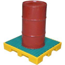 Plataforma de retención de polietileno 1 bidón, 35 litros 71 cm x 62,5 cm x 11,5 cm 71 cm
