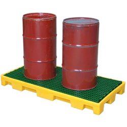 Plataforma de retención de polietileno 2 bidones, 60 litros 124,5 cm x 62,5 cm x 11,5 cm
