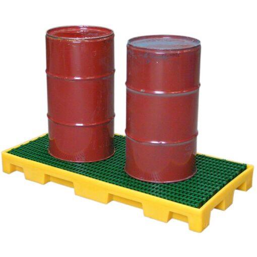 Plataforma de retención de polietileno 2 bidones, 60 litros 124,5 cm x 62,5 cm x 11,5 cm 1