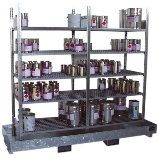 Estantería de retención de acero galvanizado, 220 litros 240 cm x 80 cm x 200 cm 1