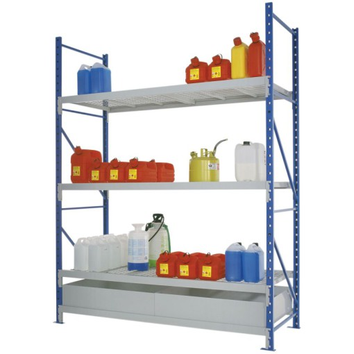 Estantería de retención de acero barnizado para cargas semipesadas, 220 litros 180 cm x 80 cm x 200 cm 1