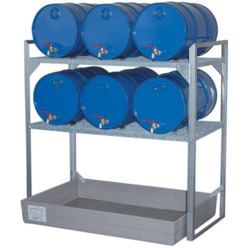 Estación de trasiego de acero galvanizado con cubeta poliéster para bidones, 150 litros 132 cm x 80 cm x 130 cm 1