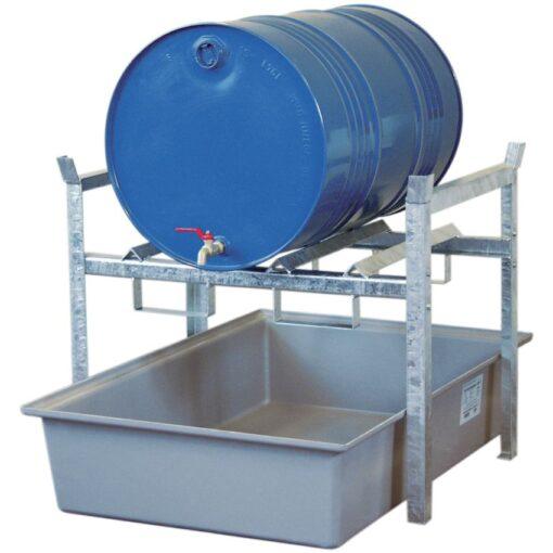 Estación de trasiego de acero galvanizado con cubeta poliéster para bidones, 220 litros 99 cm x 128 cm x 84 cm 1