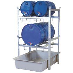 Estación de trasiego de acero galvanizado con cubeta poliéster para bidones, 220 litros 99 cm x 128 cm x 162 cm